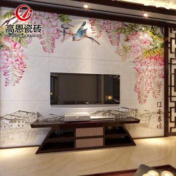 客厅电视背景墙砖 古典 中式地砖拼花
