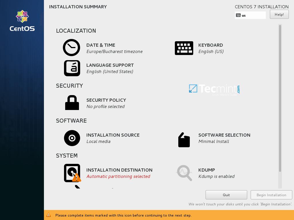 CentOS 7.3 Installation Summary