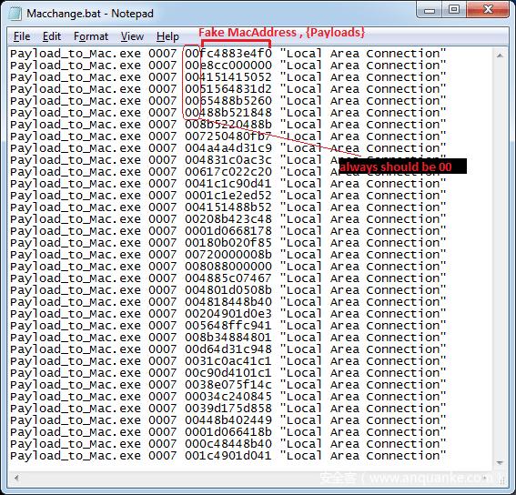 图3:通过注入payload到Mac包来返回伪造Mac地址的攻击机B上的BAT文件