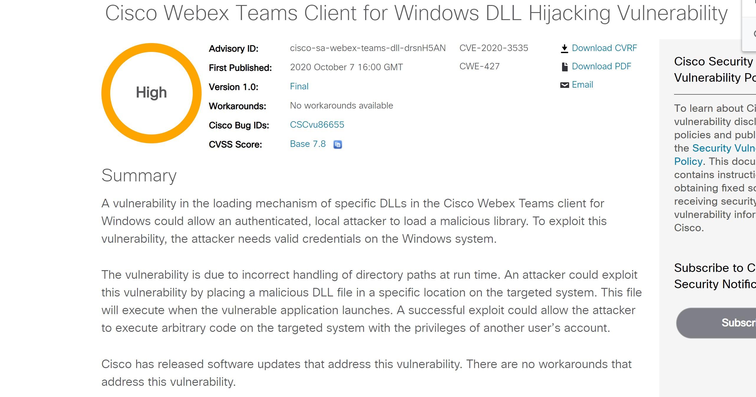360独家发现Cisco Webex Teams DLL劫持漏洞,获Cisco官方致谢