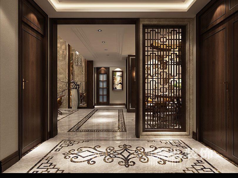 走廊整体效果,多层次运用波打线,浅色砖与深色木质相辅相成
